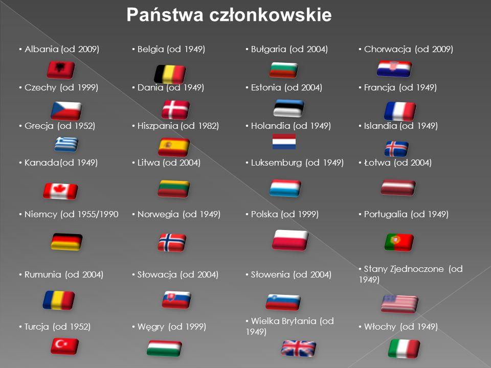Albania (od 2009) Belgia (od 1949) Bułgaria (od 2004) Chorwacja (od 2009) Czechy (od 1999) Dania (od 1949) Estonia (od 2004) Francja (od 1949) Grecja