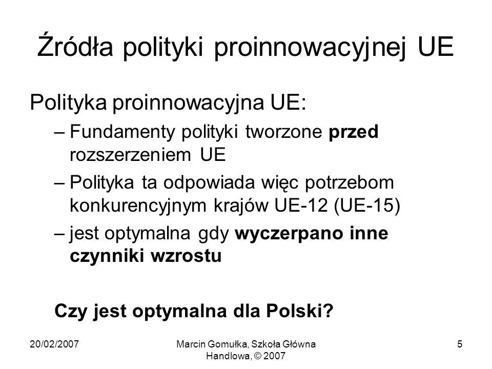 20/02/2007Marcin Gomułka, Szkoła Główna Handlowa, © 2007 5 Źródła polityki proinnowacyjnej UE Polityka proinnowacyjna UE: –Fundamenty polityki tworzone przed rozszerzeniem UE –Polityka ta odpowiada więc potrzebom konkurencyjnym krajów UE-12 (UE-15) –jest optymalna gdy wyczerpano inne czynniki wzrostu Czy jest optymalna dla Polski