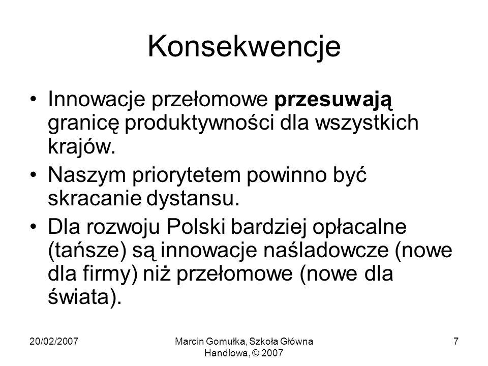20/02/2007Marcin Gomułka, Szkoła Główna Handlowa, © 2007 7 Konsekwencje Innowacje przełomowe przesuwają granicę produktywności dla wszystkich krajów.