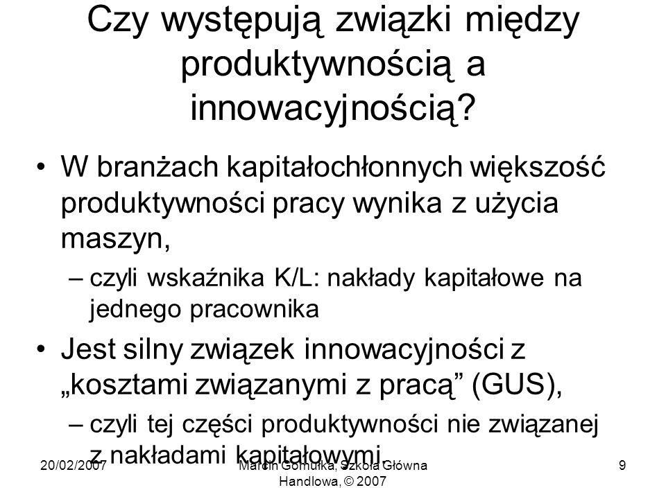 20/02/2007Marcin Gomułka, Szkoła Główna Handlowa, © 2007 9 Czy występują związki między produktywnością a innowacyjnością.