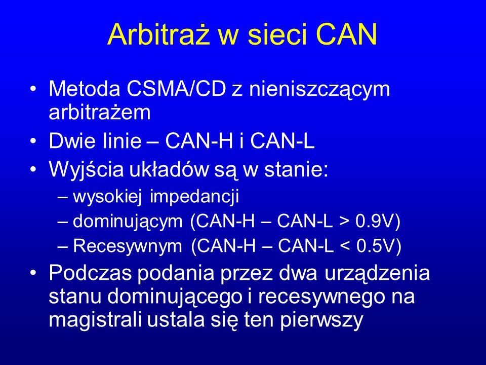 Arbitraż w sieci CAN Metoda CSMA/CD z nieniszczącym arbitrażem Dwie linie – CAN-H i CAN-L Wyjścia układów są w stanie: –wysokiej impedancji –dominując