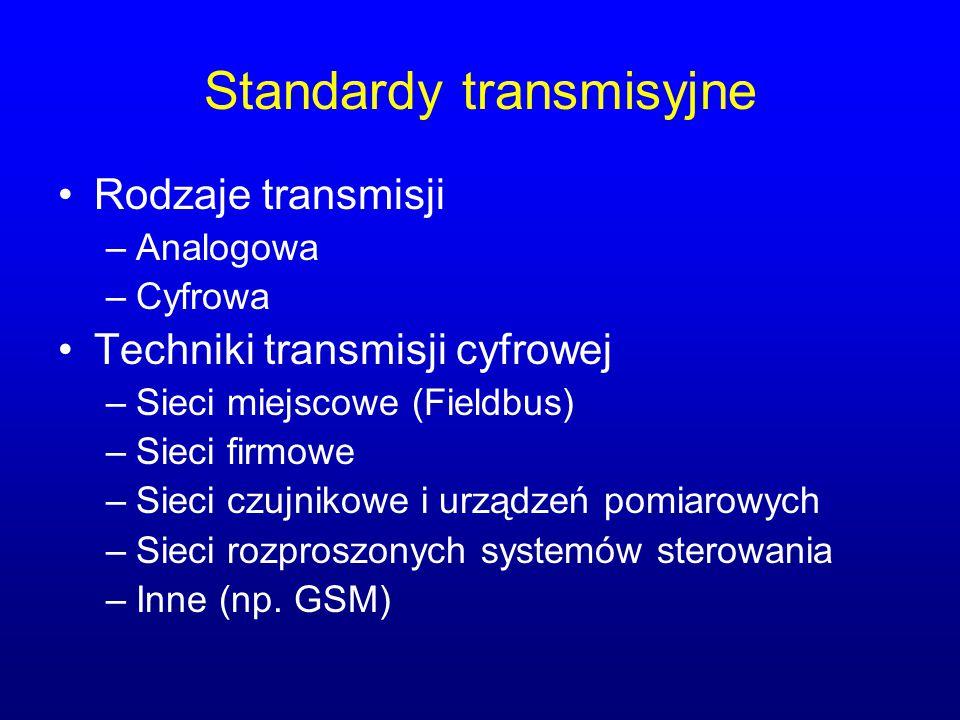 Standardy transmisyjne Rodzaje transmisji –Analogowa –Cyfrowa Techniki transmisji cyfrowej –Sieci miejscowe (Fieldbus) –Sieci firmowe –Sieci czujnikow