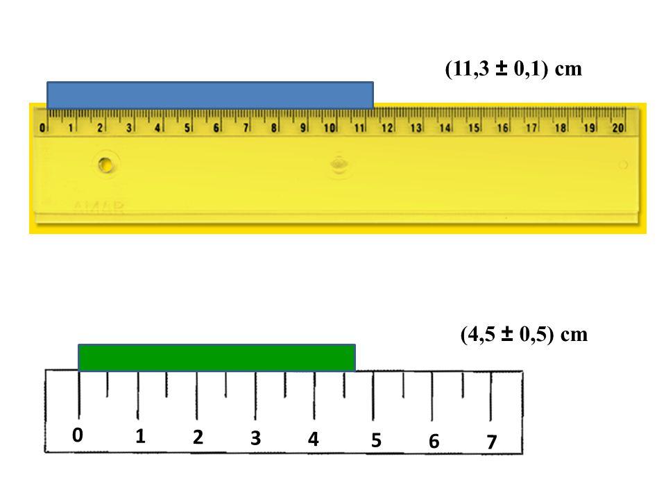 0 1 2 3 4 5 6 7 (11,3 ± 0,1) cm (4,5 ± 0,5) cm