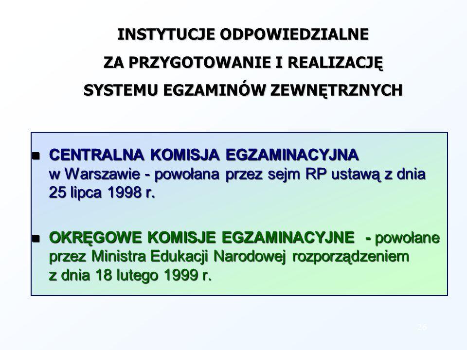 INSTYTUCJE ODPOWIEDZIALNE ZA PRZYGOTOWANIE I REALIZACJĘ SYSTEMU EGZAMINÓW ZEWNĘTRZNYCH CENTRALNA KOMISJA EGZAMINACYJNA w Warszawie - powołana przez se