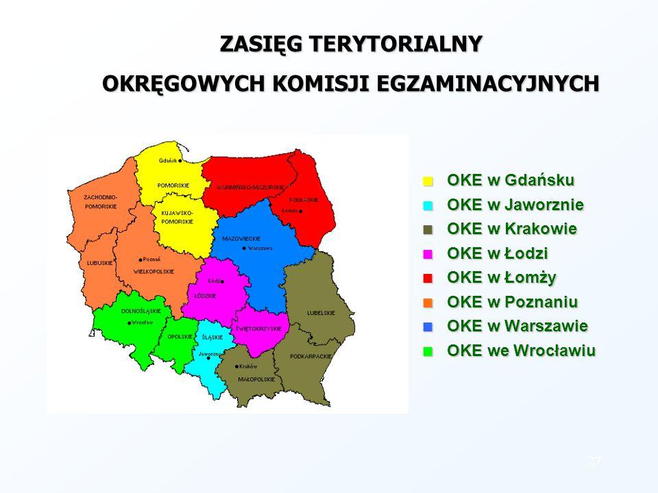 ZASIĘG TERYTORIALNY OKRĘGOWYCH KOMISJI EGZAMINACYJNYCH OKE w Gdańsku OKE w Jaworznie OKE w Krakowie OKE w Łodzi OKE w Łomży OKE w Poznaniu OKE w Warsz