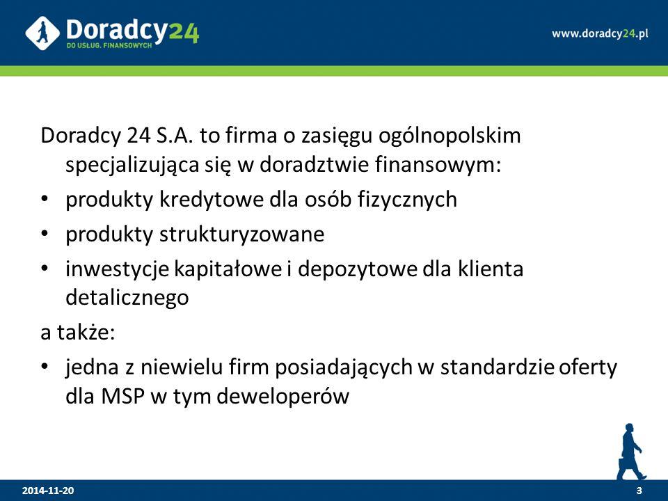 Doradcy 24 S.A. to firma o zasięgu ogólnopolskim specjalizująca się w doradztwie finansowym: produkty kredytowe dla osób fizycznych produkty struktury