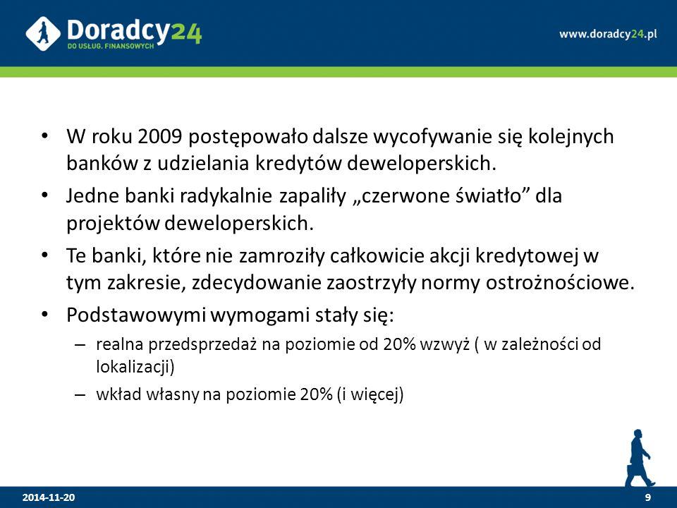 """W roku 2009 postępowało dalsze wycofywanie się kolejnych banków z udzielania kredytów deweloperskich. Jedne banki radykalnie zapaliły """"czerwone światł"""
