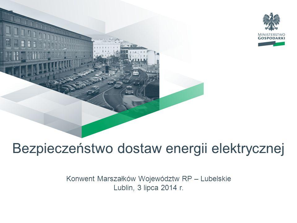 Bezpieczeństwo dostaw energii elektrycznej Konwent Marszałków Województw RP – Lubelskie Lublin, 3 lipca 2014 r.