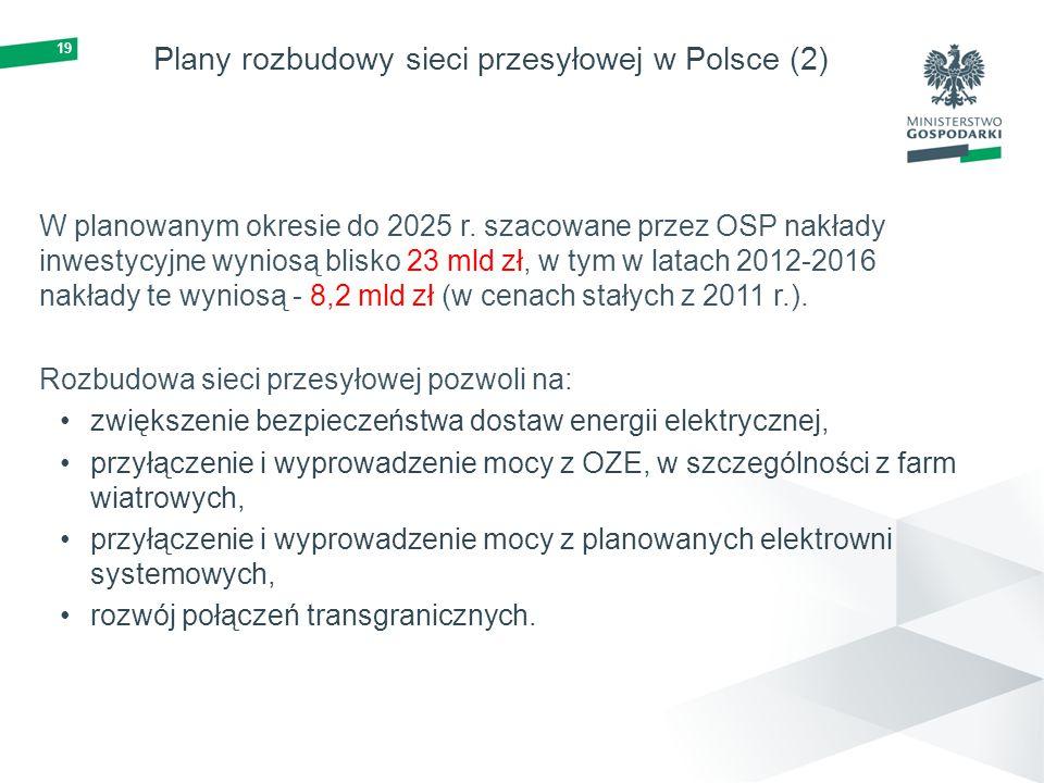 19 Plany rozbudowy sieci przesyłowej w Polsce (2) W planowanym okresie do 2025 r. szacowane przez OSP nakłady inwestycyjne wyniosą blisko 23 mld zł, w