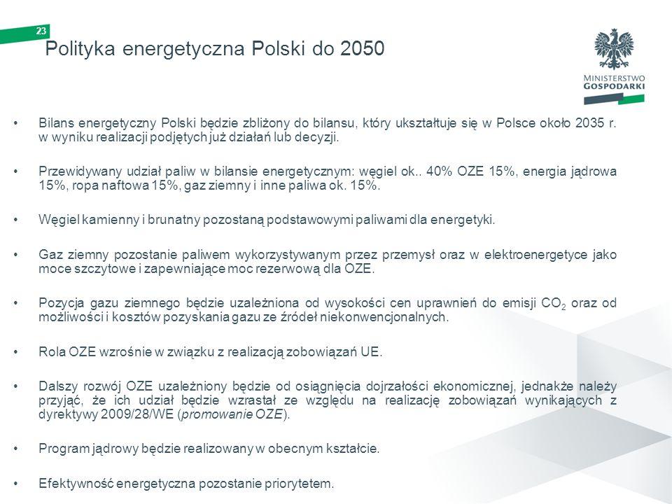 23 Polityka energetyczna Polski do 2050 Bilans energetyczny Polski będzie zbliżony do bilansu, który ukształtuje się w Polsce około 2035 r. w wyniku r