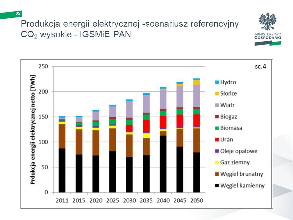 25 Produkcja energii elektrycznej -scenariusz referencyjny CO 2 wysokie - IGSMiE PAN