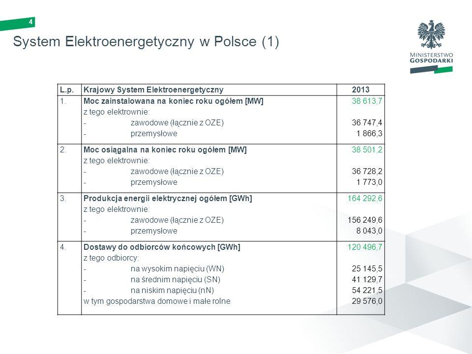 4 System Elektroenergetyczny w Polsce (1) L.p.Krajowy System Elektroenergetyczny2013 1. Moc zainstalowana na koniec roku ogółem [MW] z tego elektrowni