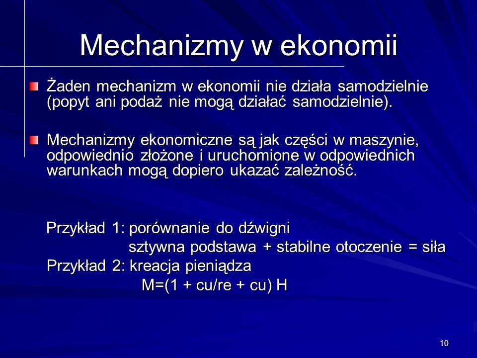 10 Mechanizmy w ekonomii Żaden mechanizm w ekonomii nie działa samodzielnie (popyt ani podaż nie mogą działać samodzielnie).