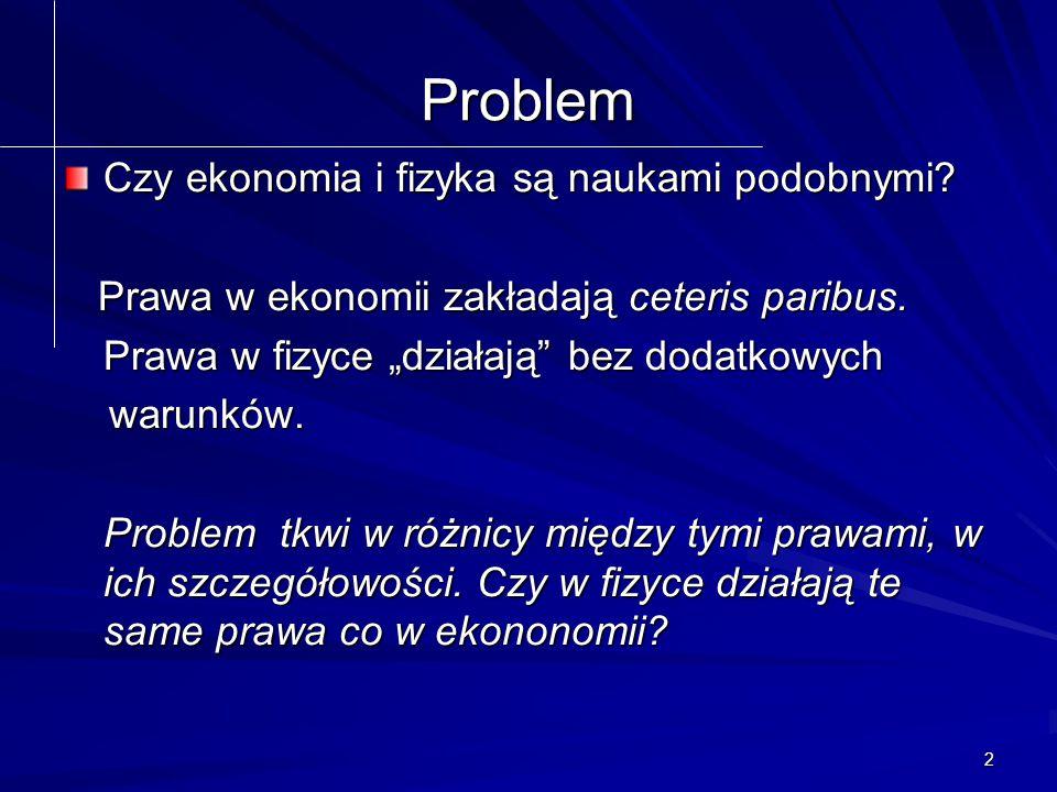 2 Problem Czy ekonomia i fizyka są naukami podobnymi.