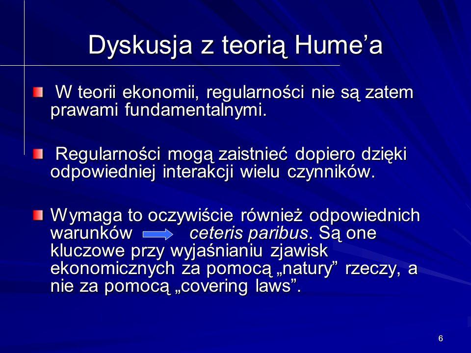 6 Dyskusja z teorią Hume'a W teorii ekonomii, regularności nie są zatem prawami fundamentalnymi.