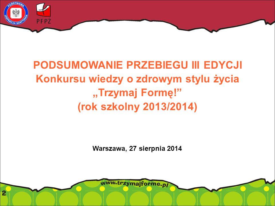 """PODSUMOWANIE PRZEBIEGU III EDYCJI Konkursu wiedzy o zdrowym stylu życia """"Trzymaj Formę! (rok szkolny 2013/2014) Warszawa, 27 sierpnia 2014"""