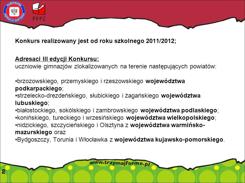 Konkurs realizowany jest od roku szkolnego 2011/2012; Adresaci III edycji Konkursu: uczniowie gimnazjów zlokalizowanych na terenie następujących powiatów: brzozowskiego, przemyskiego i rzeszowskiego województwa podkarpackiego; strzelecko-drezdeńskiego, słubickiego i żagańskiego województwa lubuskiego; białostockiego, sokólskiego i zambrowskiego województwa podlaskiego; konińskiego, tureckiego i wrzesińskiego województwa wielkopolskiego; nidzickiego, szczycieńskiego i Olsztyna z województwa warmińsko- mazurskiego oraz Bydgoszczy, Torunia i Włocławka z województwa kujawsko-pomorskiego.