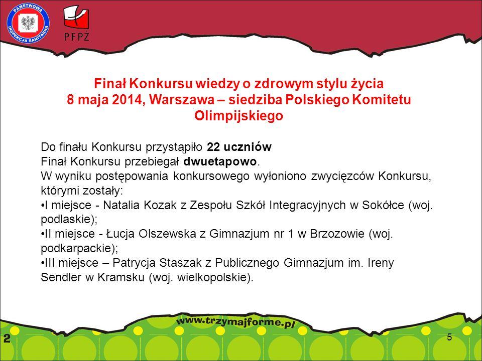 5 Finał Konkursu wiedzy o zdrowym stylu życia 8 maja 2014, Warszawa – siedziba Polskiego Komitetu Olimpijskiego Do finału Konkursu przystąpiło 22 uczniów Finał Konkursu przebiegał dwuetapowo.