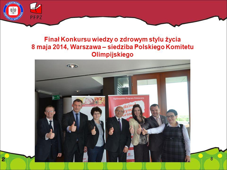 8 Finał Konkursu wiedzy o zdrowym stylu życia 8 maja 2014, Warszawa – siedziba Polskiego Komitetu Olimpijskiego