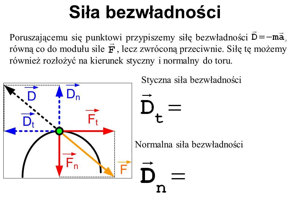 Poruszającemu się punktowi przypiszemy siłę bezwładności, równą co do modułu sile, lecz zwróconą przeciwnie. Siłę tę możemy również rozłożyć na kierun