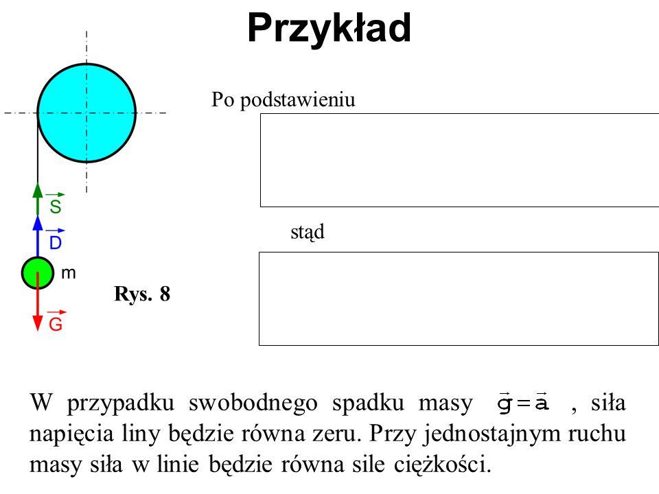 Rys. 8 Przykład Po podstawieniu stąd W przypadku swobodnego spadku masy, siła napięcia liny będzie równa zeru. Przy jednostajnym ruchu masy siła w lin