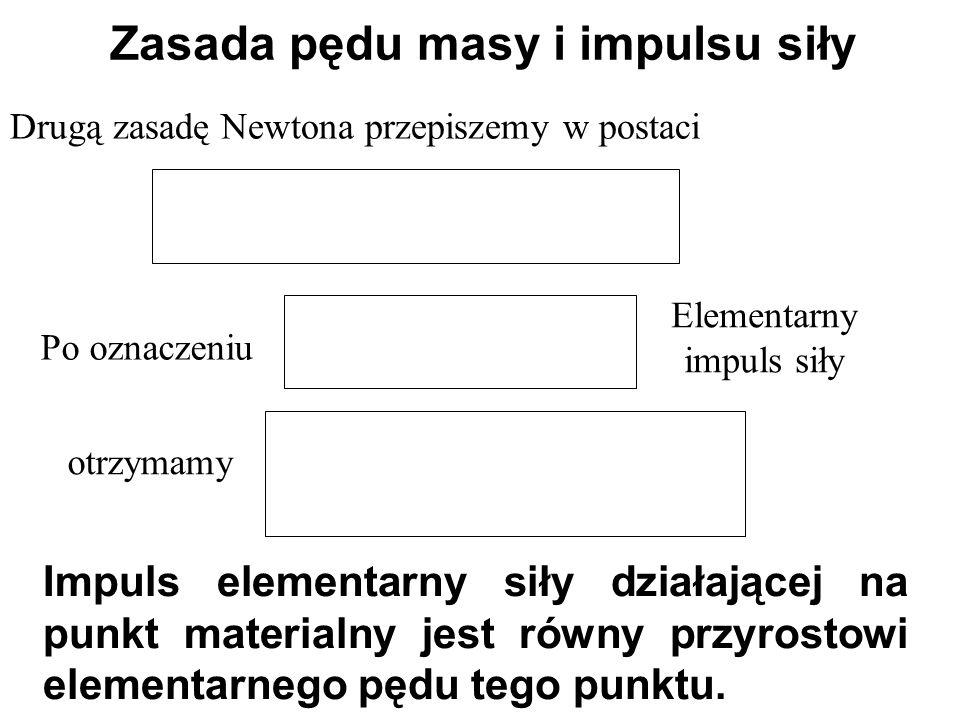 Drugą zasadę Newtona przepiszemy w postaci Zasada pędu masy i impulsu siły Impuls elementarny siły działającej na punkt materialny jest równy przyrost