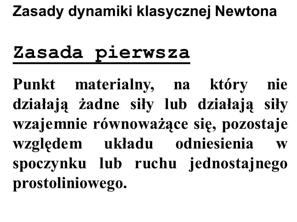 Zasady dynamiki klasycznej Newtona Zasada pierwsza Punkt materialny, na który nie działają żadne siły lub działają siły wzajemnie równoważące się, poz