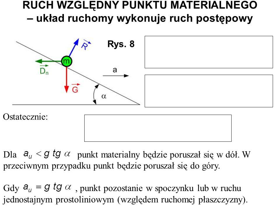Rys. 8 Ostatecznie: Dla punkt materialny będzie poruszał się w dół. W przeciwnym przypadku punkt będzie poruszał się do góry. Gdy, punkt pozostanie w