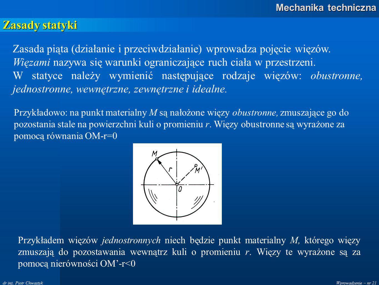 Wprowadzenie – nr 21 Mechanika techniczna dr inż.