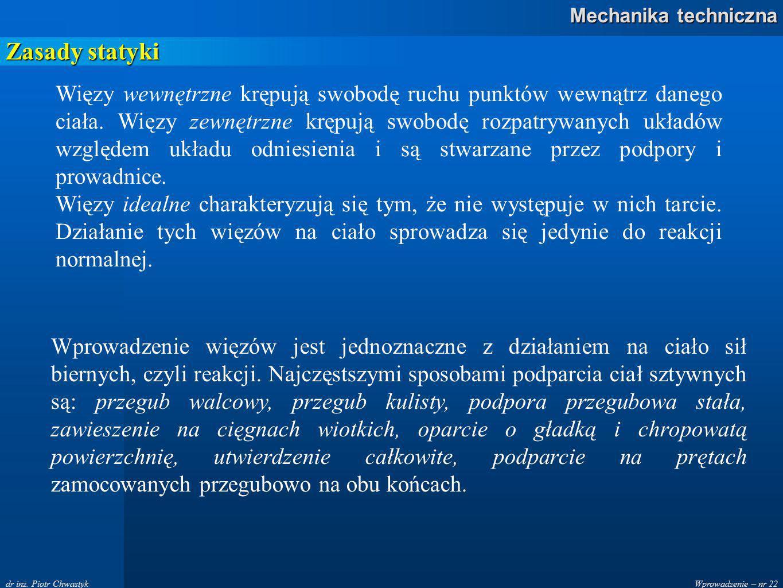Wprowadzenie – nr 22 Mechanika techniczna dr inż.