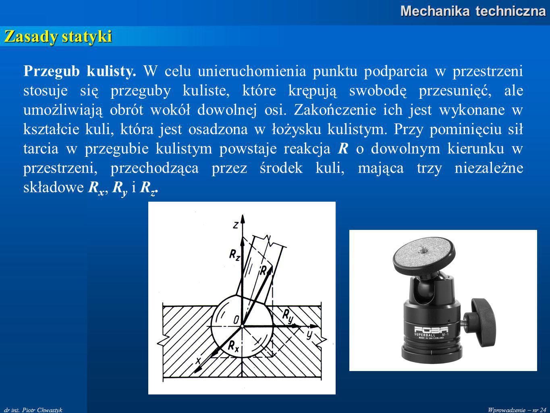 Wprowadzenie – nr 24 Mechanika techniczna dr inż.Piotr Chwastyk Zasady statyki Przegub kulisty.