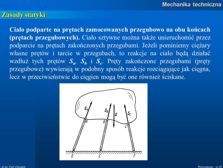 Wprowadzenie – nr 30 Mechanika techniczna dr inż.