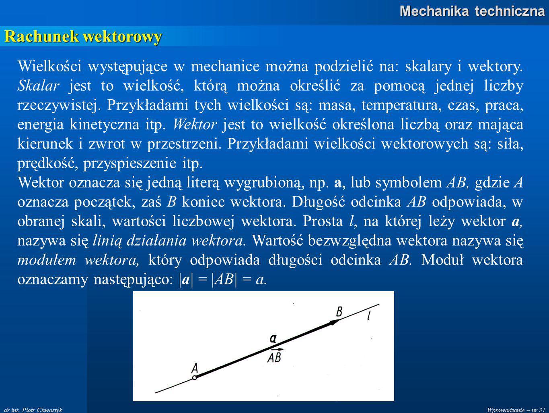 Wprowadzenie – nr 31 Mechanika techniczna dr inż.