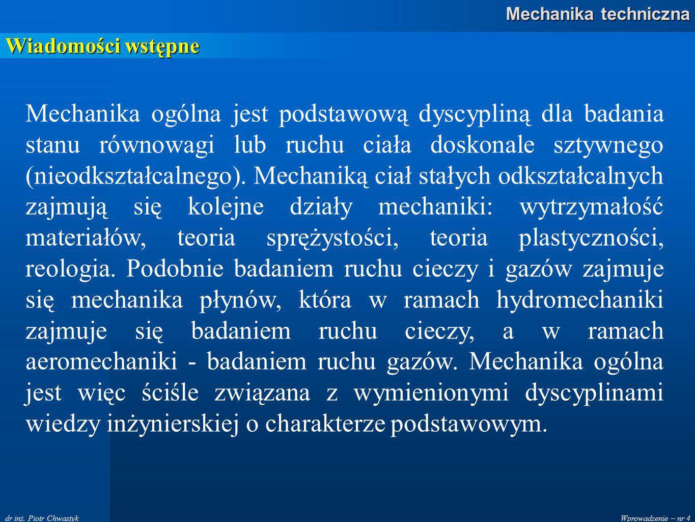 Wprowadzenie – nr 15 Mechanika techniczna dr inż.Piotr Chwastyk Zasady statyki Zasada druga.