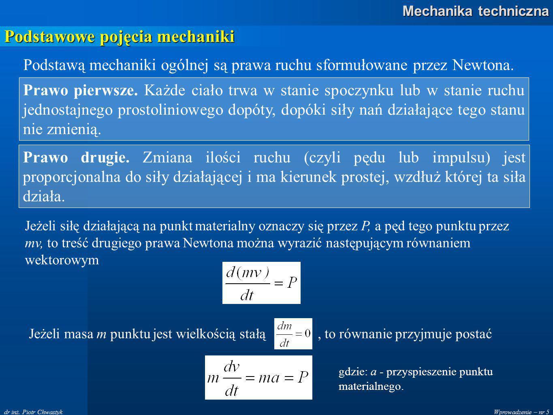 Wprowadzenie – nr 16 Mechanika techniczna dr inż.Piotr Chwastyk Zasady statyki Zasada trzecia.