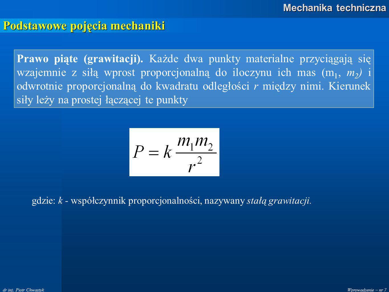 Wprowadzenie – nr 8 Mechanika techniczna dr inż.