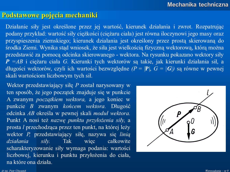 Wprowadzenie – nr 9 Mechanika techniczna dr inż.