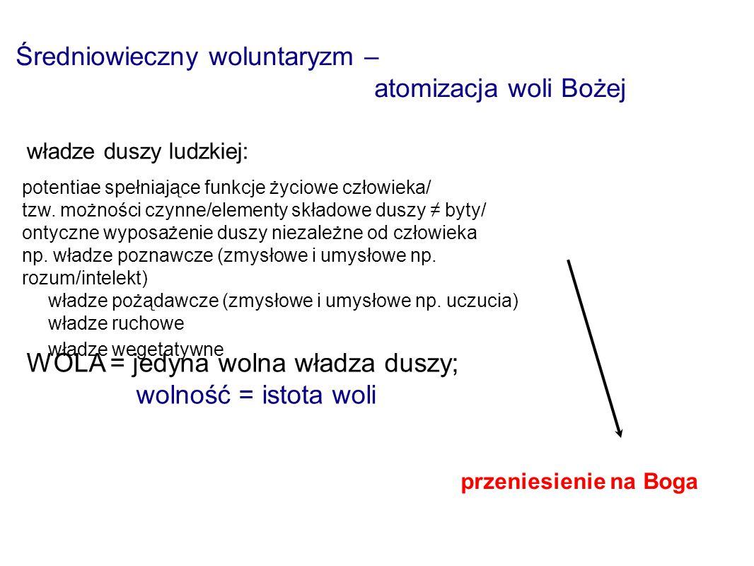 Średniowieczny woluntaryzm – atomizacja woli Bożej predestynacja ≠ akt dokonany w przeszłości władze duszy ludzkiej: potentiae spełniające funkcje życiowe człowieka/ tzw.