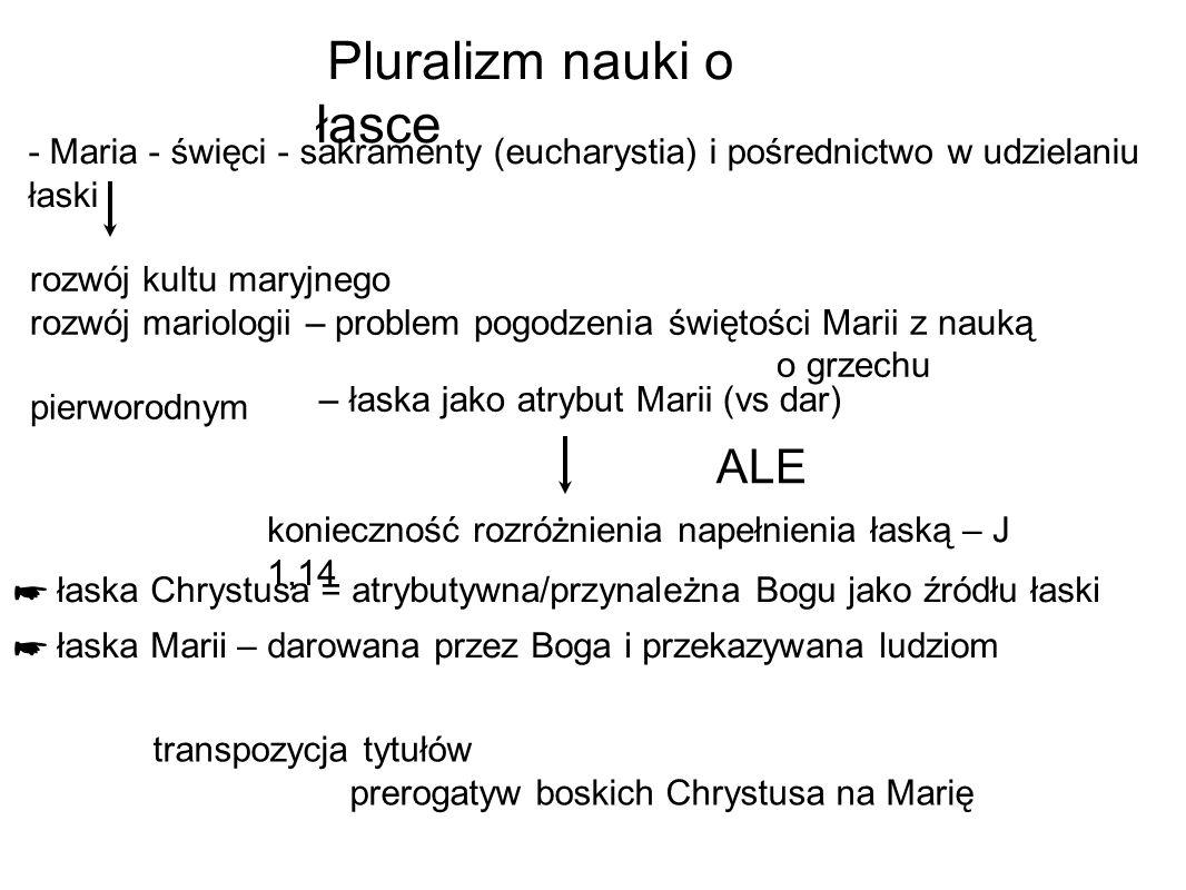 Pluralizm nauki o łasce rozwój kultu maryjnego rozwój mariologii – problem pogodzenia świętości Marii z nauką o grzechu pierworodnym – łaska jako atry
