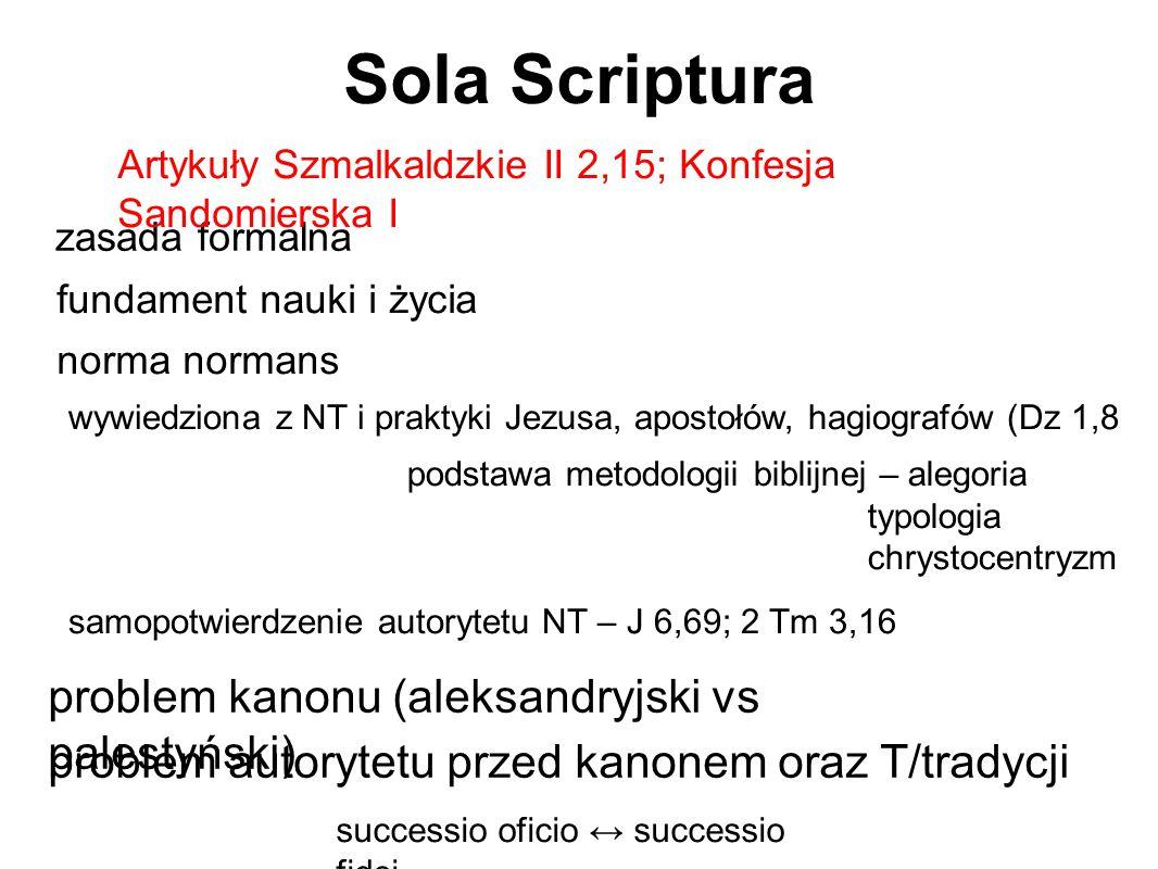 Sola Scriptura zasada formalna fundament nauki i życia norma normans wywiedziona z NT i praktyki Jezusa, apostołów, hagiografów (Dz 1,8 podstawa metod