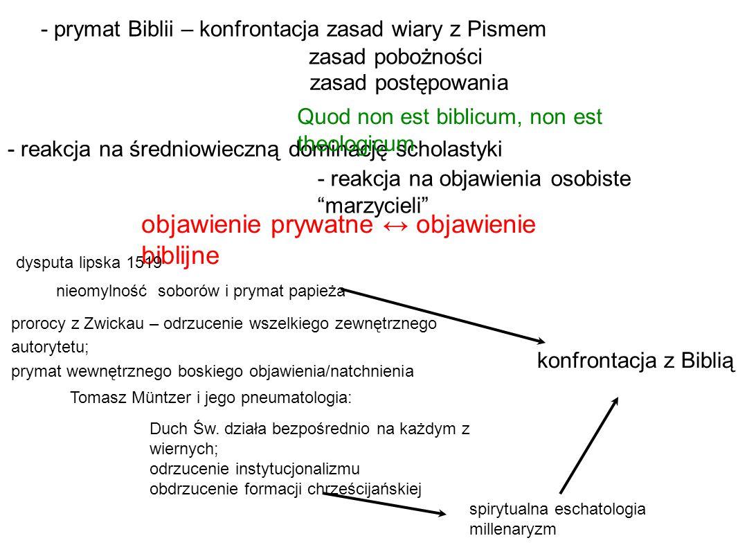 - prymat Biblii – konfrontacja zasad wiary z Pismem zasad pobożności zasad postępowania - reakcja na średniowieczną dominację scholastyki - reakcja na