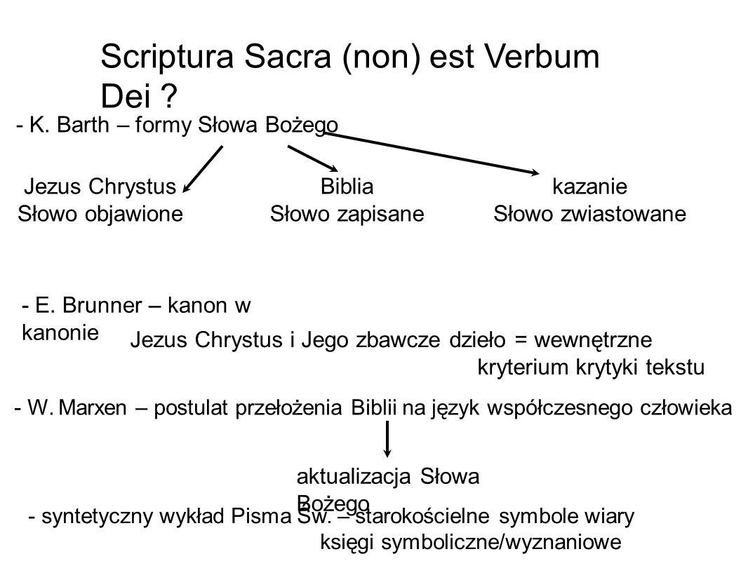 - K. Barth – formy Słowa Bożego aktualizacja Słowa Bożego Scriptura Sacra (non) est Verbum Dei ? Jezus Chrystus Słowo objawione - E. Brunner – kanon w