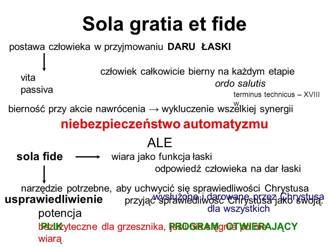 Sola gratia et fide postawa człowieka w przyjmowaniu DARU ŁASKI vita passiva bierność przy akcie nawrócenia → wykluczenie wszelkiej synergii człowiek