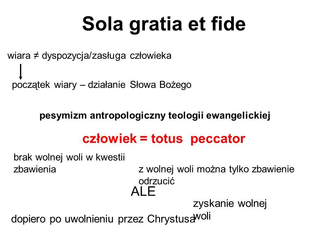 Sola gratia et fide wiara ≠ dyspozycja/zasługa człowieka pesymizm antropologiczny teologii ewangelickiej początek wiary – działanie Słowa Bożego człow