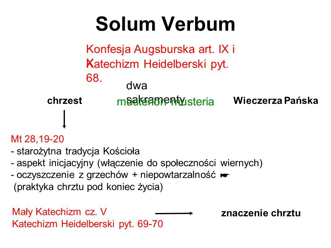 Solum Verbum Konfesja Augsburska art. IX i X dwa sakramenty chrzestWieczerza Pańska Mt 28,19-20 - starożytna tradycja Kościoła - aspekt inicjacyjny (w