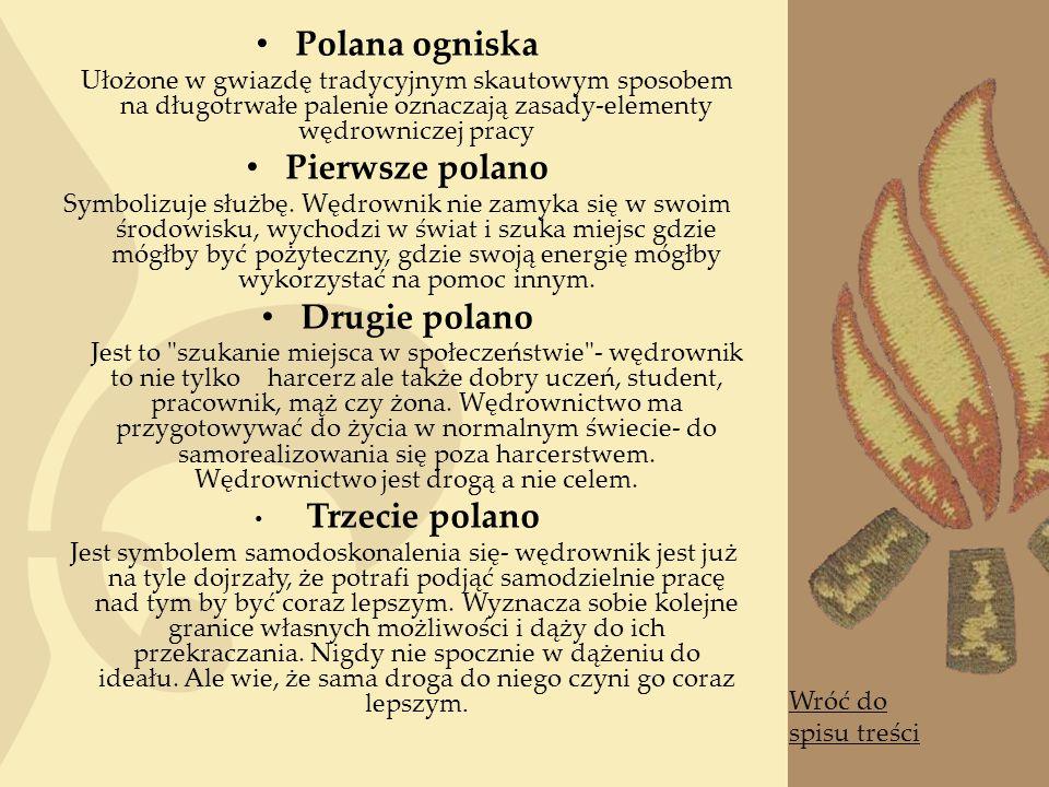 Polana ogniska Ułożone w gwiazdę tradycyjnym skautowym sposobem na długotrwałe palenie oznaczają zasady-elementy wędrowniczej pracy Pierwsze polano Symbolizuje służbę.