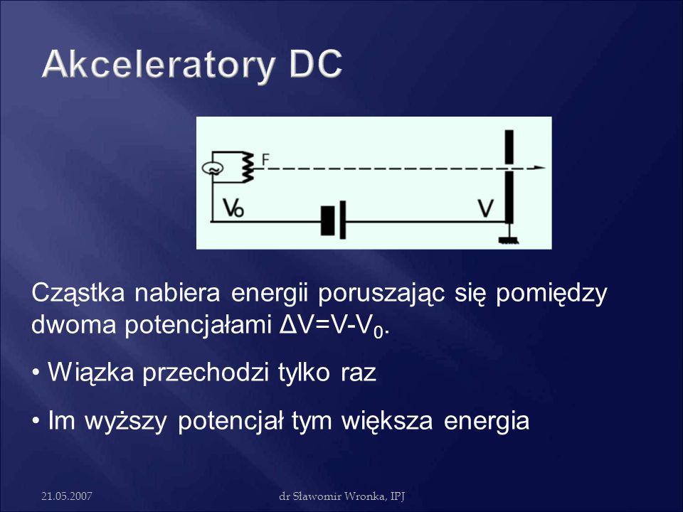 21.05.2007dr Sławomir Wronka, IPJ Cząstka nabiera energii poruszając się pomiędzy dwoma potencjałami ΔV=V-V 0. Wiązka przechodzi tylko raz Im wyższy p