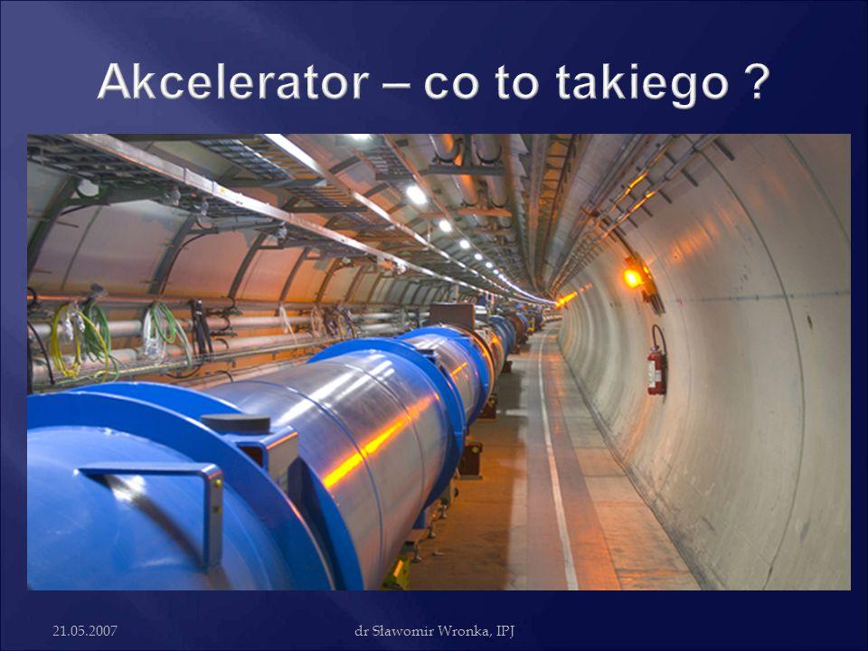 21.05.2007dr Sławomir Wronka, IPJ Akcelerator to urządzenie do przyspieszania cząstek, w którym możemy kontrolować parametry wiązki  Przyspieszanie odbywa się za pomocą pola elektrycznego  Tylko cząstki niosące ładunek  Do skupienia cząstek w wiązkę oraz do nadania im pożądanego kierunku używa się odpowiednio ukształtowanego, w niektórych konstrukcjach także zmieniającego się w czasie, pola magnetycznego lub elektrycznego