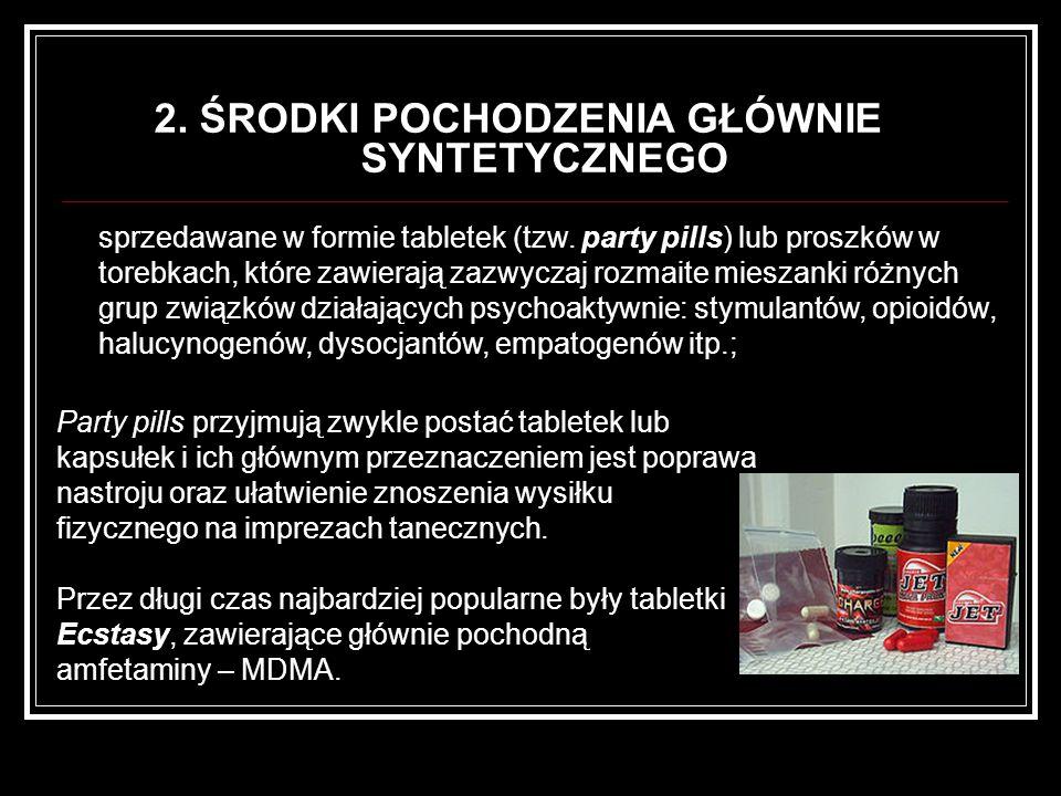 2. ŚRODKI POCHODZENIA GŁÓWNIE SYNTETYCZNEGO Party pills przyjmują zwykle postać tabletek lub kapsułek i ich głównym przeznaczeniem jest poprawa nastro