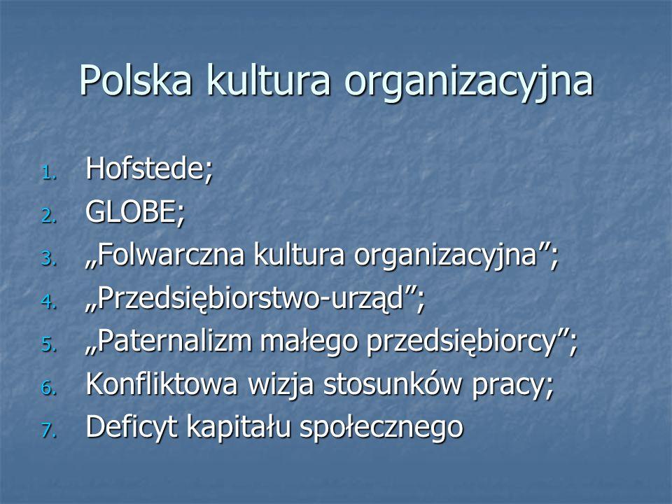 Polska kultura organizacyjna w międzynarodowych modelach porównawczych Hofstede Duży dystans władzy; Duży dystans władzy; Indywidualizm Indywidualizm Wyraźna męskość; Wyraźna męskość; Niska tolerancja niepewności Niska tolerancja niepewności GLOBE Orientacja na zadania - względnie silna (deklarowana)/relatywnie niska (praktykowana), Orientacja na zadania - względnie silna (deklarowana)/relatywnie niska (praktykowana), Orientacji na przyszłość - niska poziom w warstwie postaw/nieco silniejsza w warstwie wartości.
